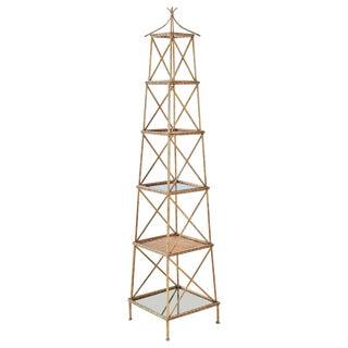 Gilt Faux-Bamboo Iron Pagoda Style Étagère For Sale