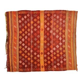 "Vintage Turkish Anatolian Hand Knotted Organic Wool Fine Weave Kilim,3'9""x4'4"" For Sale"