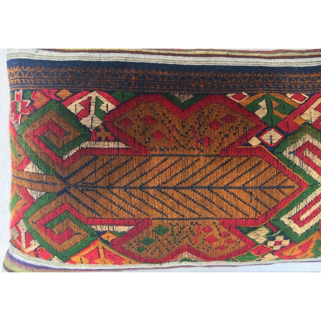 Linen Vintage Handwoven Embroidered Pillows Northern Laos - A Pair For Sale - Image 7 of 9