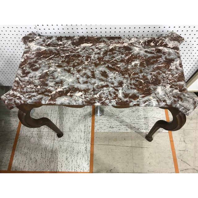 Portuguese Oak Marble Top Console Table For Sale - Image 5 of 6