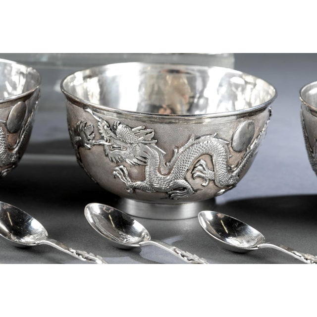 Early 20th Century Chinese Export Sterling Silver Tea Set with Dragon Design Tianjing Wuhua - 13 Pieces For Sale - Image 5 of 13