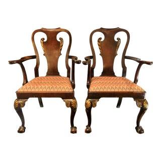 George II-style Hand-Carved and Parcel-Gilt Arm Chairs, England Circa 1810-1830 - A Pair For Sale