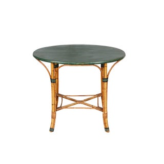 1940's Oval Bamboo Table With Green Top For Sale