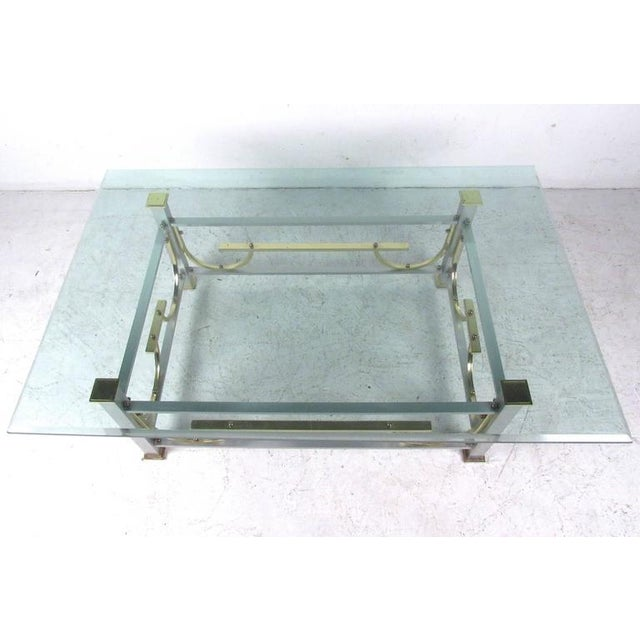 Mid-Century Modern Maison Jansen Style Chrome & Brass Coffee Table For Sale - Image 5 of 10