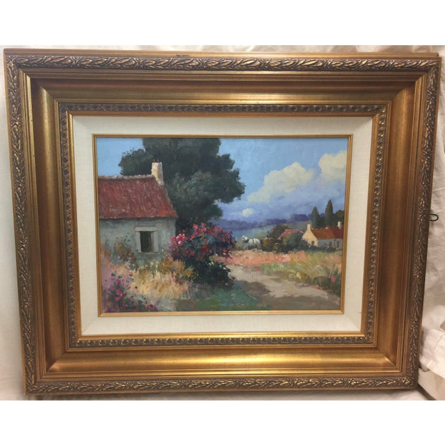 Oil Paint Stojan Milanov Oil Painting Impressionistic Village Scene For Sale - Image 7 of 7