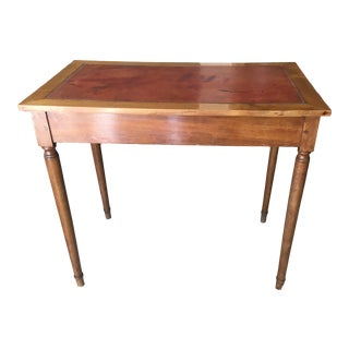 19th Century Fauve Leather Top Cherry Wood Writing Table For Sale