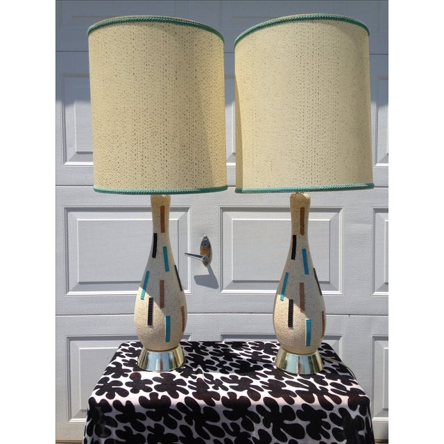 Mid-Century Modern Pottery Lamps - A Pair - Image 2 of 5