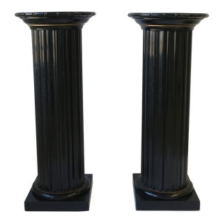 Black Lacquer Wood Pillar Column Pedestal Stand For Sale