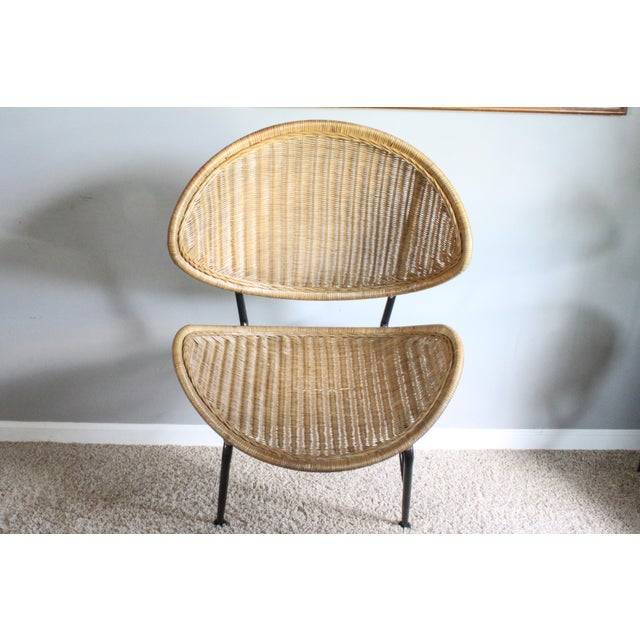 """Tan Salterini Style Whicker """"Orbit"""" Shell Chair For Sale - Image 8 of 10"""