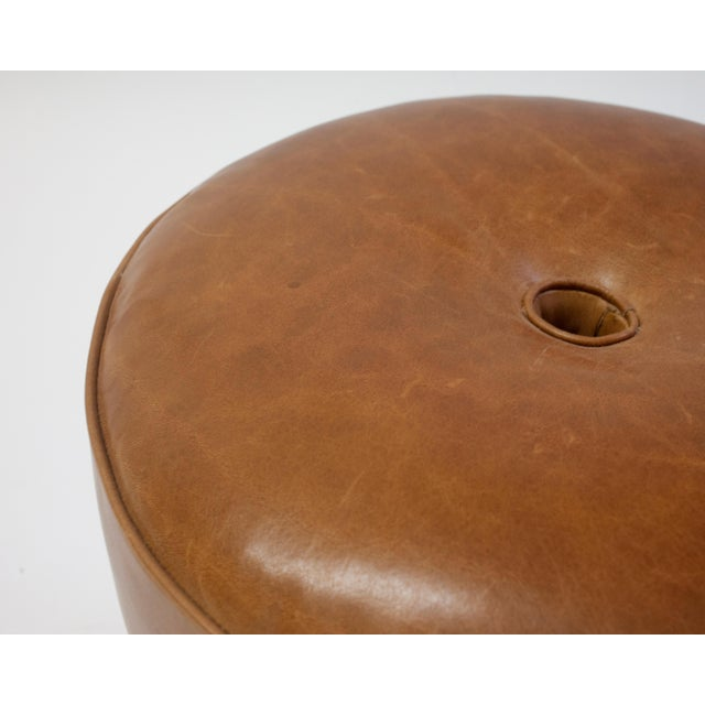 Not Yet Made - Made To Order Round Leather Pouf on Dark Mahogany Base With Circular Detail at Seat For Sale - Image 5 of 6
