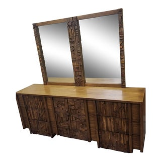 1970s Brutalist Paul Evan's 9 Drawer Dresser with Double Mirror For Sale