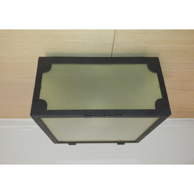 Reborn Lighting, Custom Square Flush Mount Fixture, Black Iron Finish With Frosted Glass with Corner Details on all 4...
