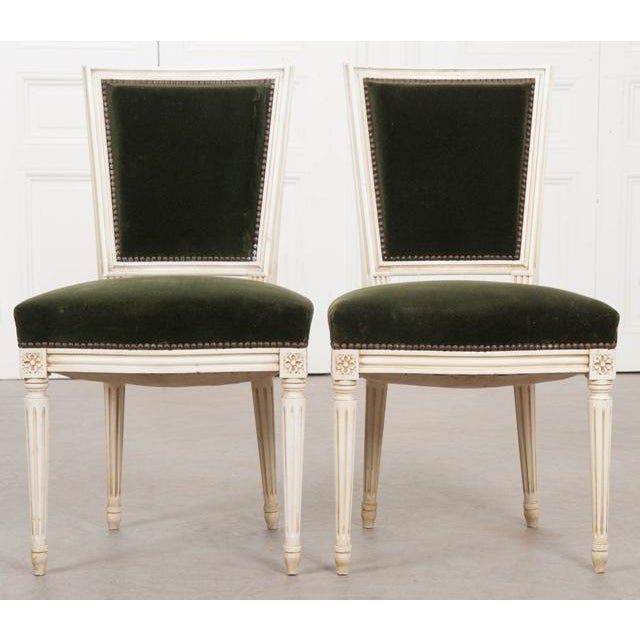 French Vintage Louis XVI Painted Side Chairs - a Pair For Sale - Image 9 of 11