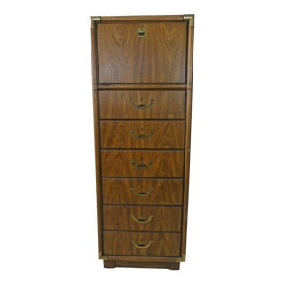 1970s Campaign Drexel Accolade Tall Narrow Dresser With Vanity Top Brass Accents For Sale