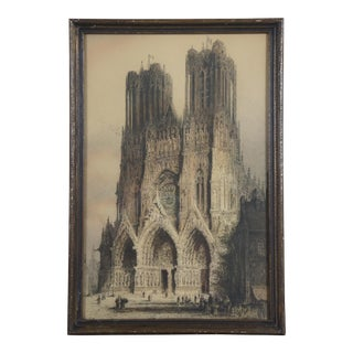 Antique 1920s Jacobi Rheims Cathedral Etching Re-Proof After J. A. Brewe For Sale