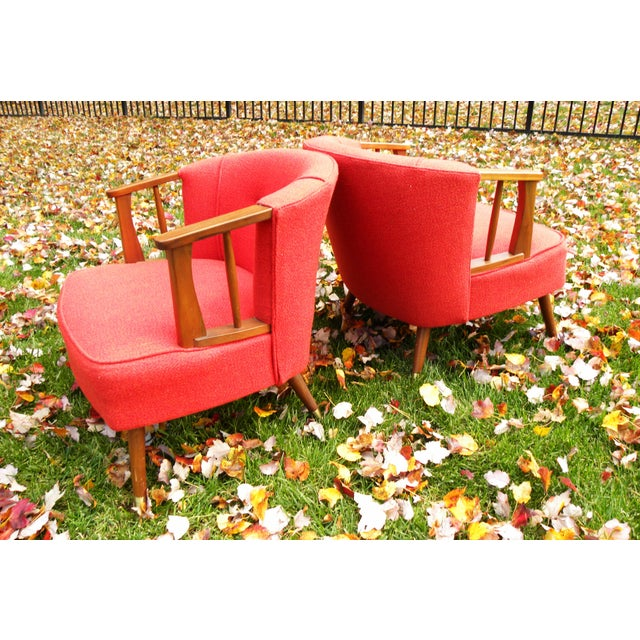 Mid-Century Lounge Chairs in Red - A Pair - Image 7 of 7