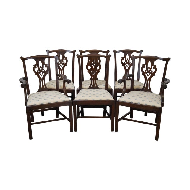Henkel Harris Solid Mahogany Chippendale Style Dining Chairs - Set of 6 - Image 1 of 10