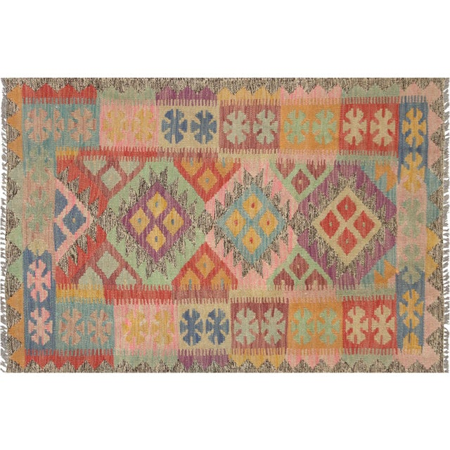 """1980s Nalbandian - Contemporary Afghan Maimana Kilim - 2'7"""" X 3'9"""" For Sale - Image 5 of 5"""