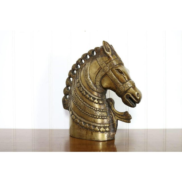 Hollywood Regency 20th Century Hollywood Regency Brass Horse Head Bust For Sale - Image 3 of 8