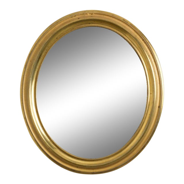 Antique Napoleon III Brass Oval Mirror For Sale