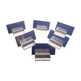 Lucite Desk Business Card Or Place Card Holder Set