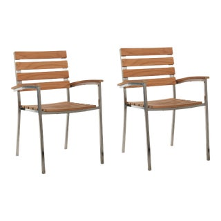Al Fresco Teak and Metal Outdoor Dining Armchair (Set of 2) For Sale