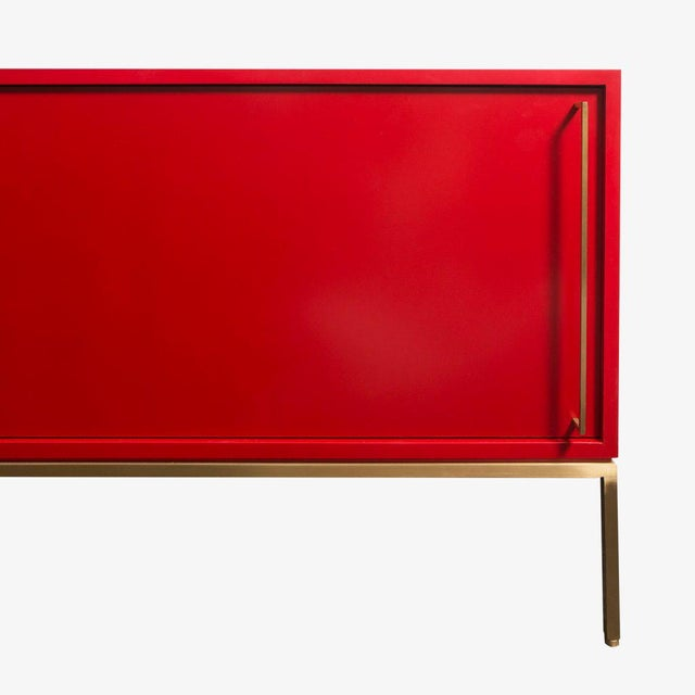 Green Customizable Re: 379 Grass Green Lacquered Credenza on Brass base For Sale - Image 8 of 12