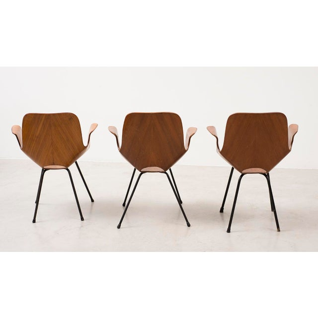 A rare set of three Medea armchairs in mahogany designed by Vittorio Nobili produced by Fratelli Tagliabue. Italy, 1956.