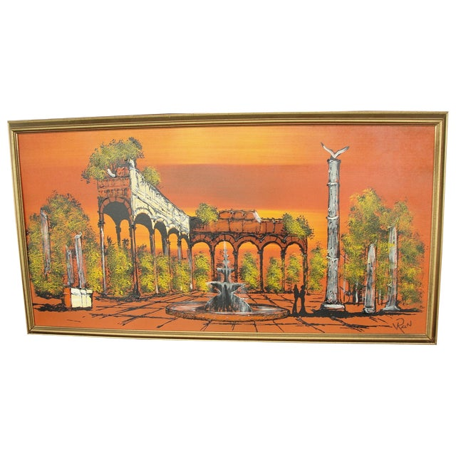 1950's Orange Ruins Painting by V Ran Raymor - Image 1 of 7