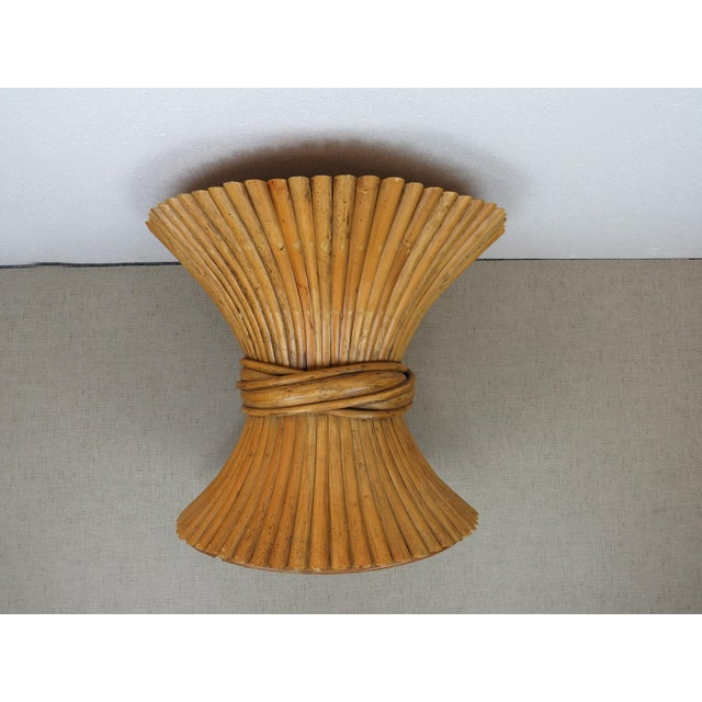 1970s Vintage Hollywood Regency Bamboo Rattan Sheaf of Wheat McGuire Side Table For Sale - Image 5 of 12