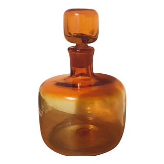 BLENKO| Wayne Husted Tangerine Orange Glass Decanter Art Glass Bottle