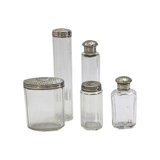 D. 1909 Sterling-Top Vanity Bottles, S/5 For Sale