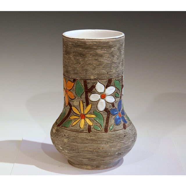 Italian Vintage Italian Art Pottery Textured Incised Blossom Raymor Vase For Sale - Image 3 of 10