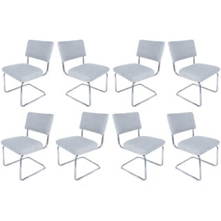 Italian Tubular Chrome Cantilevered Dining Chairs with New Upholstery - Set of 8 For Sale