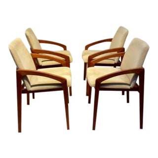 1950s Mid-Century Modern Henning Kjaernulf for Korup Stolefabrik Upholstered Teak Dining Chairs - Set of 4 For Sale