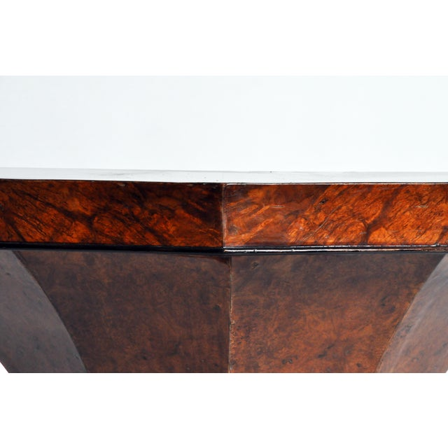 Brown Art Deco Pedestal Console Table For Sale - Image 8 of 11