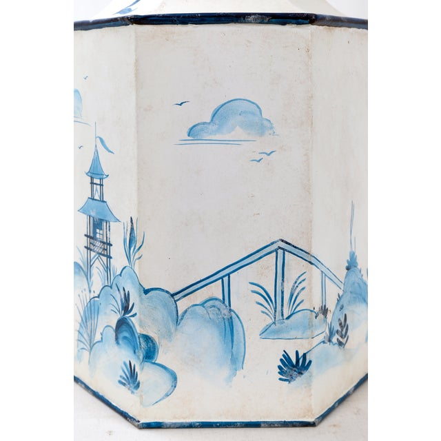 Mid 20th Century Mid 20th Century Vintage Hexagonal Blue & White Tole Tea Caddy #2 For Sale - Image 5 of 10