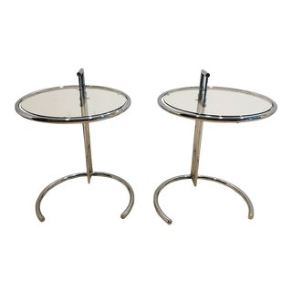 Pair of Chrome & Glass Side Tables After Eileen Gray For Sale