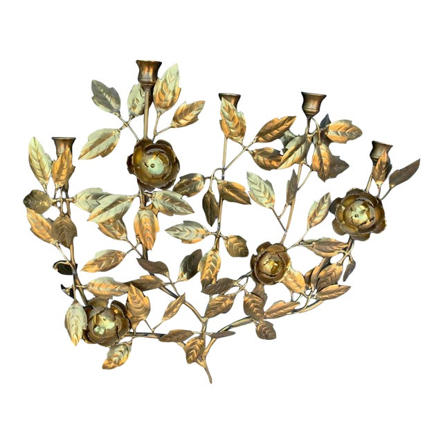 1960 Vintage Italian Brass Candle Wall Sconce For Sale