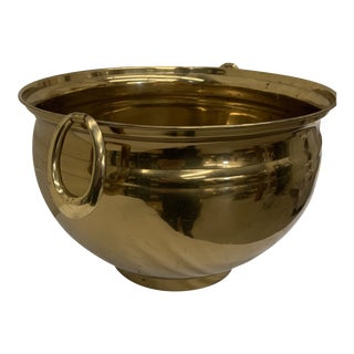 Ethan Allen Large Brass Modern Planter For Sale