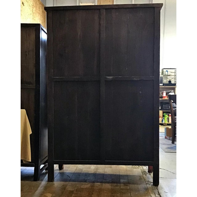 1920s Antique Chinese Red and Black Tall Armoire For Sale - Image 5 of 13