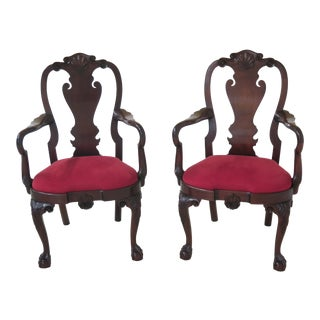 Kindel Winterthur Collection Mahogany Clawfoot Arm Chairs- A Pair For Sale