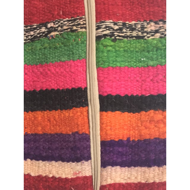 Vintage Moroccan Rug Wool Pillow - Image 9 of 11