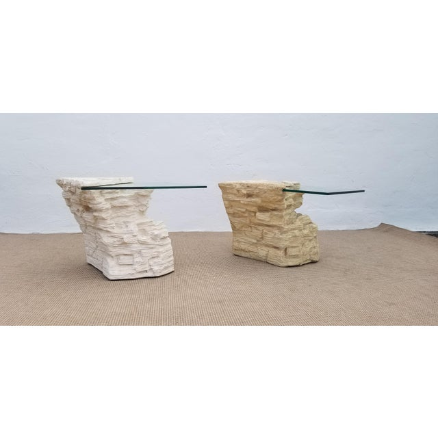 Vintage Hollywood Regency Sirmos style plaster rock quarry sculptural brutalist shape side tables with glass tops, a pair....