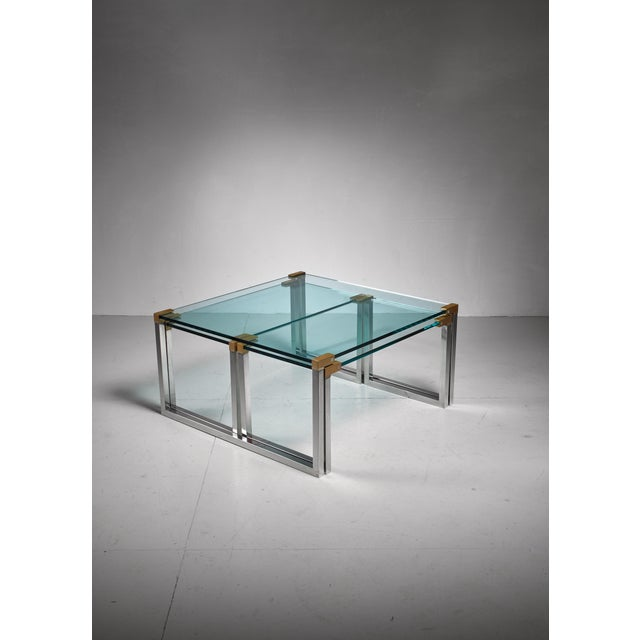 Peter Ghyczy Peter Ghyczy set of 3 modular glass, brass and chrome tables, Dutch, 1970s For Sale - Image 4 of 5