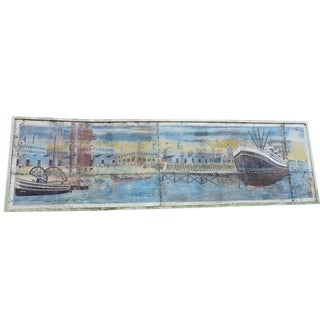 Hand Painted Burmese Propaganda Sign With Troop Ship For Sale