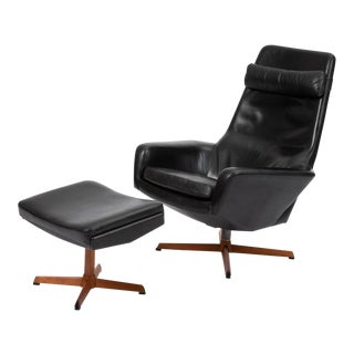 Leather Lounge Chair and Ottoman by Ib Madsen & Acton Schübell For Sale