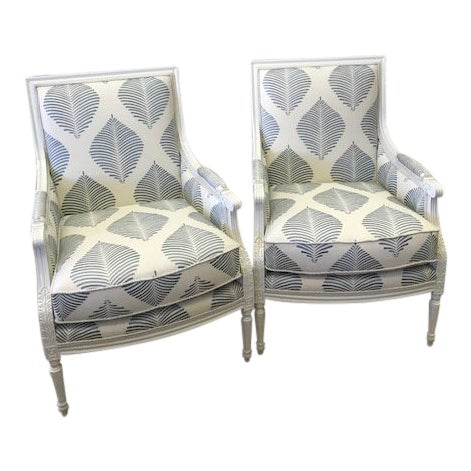 Highland House Blue and White Embroidered Fabric Armchairs- A Pair For Sale