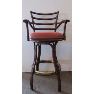 21st Century Vintage McGuire Galleria Bamboo Swivel Bar Stools- a Pair Preview