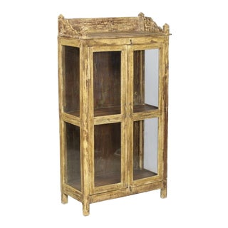 "Rustic Yellow Display Cabinet With Two Teak and Glass Doors - 63"" For Sale"